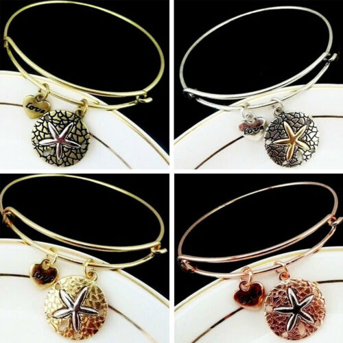 LOVE Starfish Sea Star Alloy Pendant Bracelet Bangle Fashion Elegant For Lady