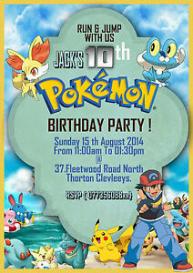 Image Is Loading Personalized Birthday Invitations Pokemon Pikachu Ash 8 Invites