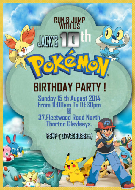 Personalized Birthday Invitations Pokemon Pikachu Ash 8 Invites A6