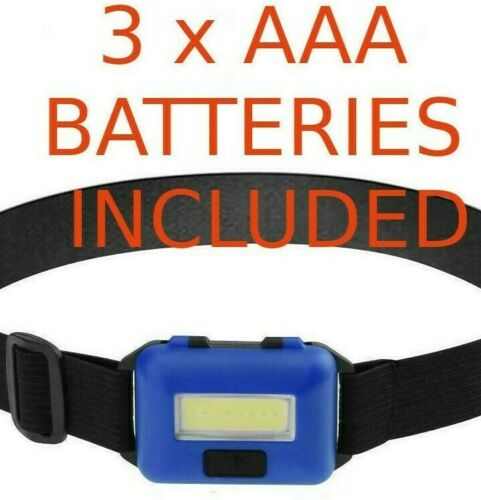 BATTERIES INCLUDED jogging canoeing WATERPROOF COB LED Headtorch Headlight