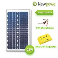 Newpowa 25 Watt 25w 12v Solar Panel + Pwm 10a Controller Battery Dc Charging Kit