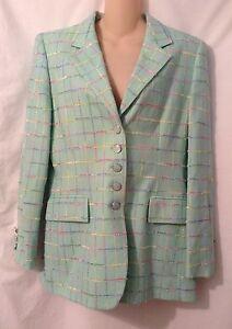Mint Pastel Veste Plaid Blazer Escada Taille Texturée 40 q6wF44dan
