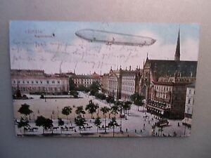 Ansichtskarte Leipzig Augustusplatz 1908 Zeppelin Straßenbahn