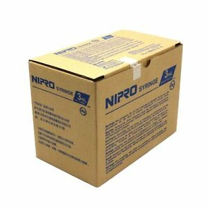 NIPRO- Box of 100 3ml / 3cc Sterile Syringe only with Luer LockTip Latex Free 803348386658