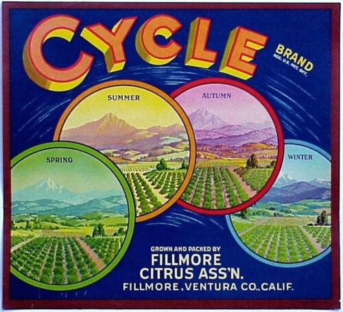 *Original* CYCLE Four Seasons Ventura Fillmore Orange Crate Label NOT A COPY!