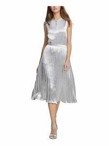 New DKNY Women's Gray Silver Crinkle Midi Skirt Satin Size 4