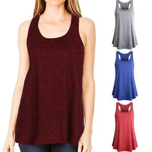 Womens-Sport-Yoga-Sleeveless-Solid-Cotton-Racerback-Loose-Tank-Blouse-Top-Vest