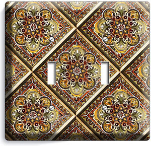 Tuscan Kitchen Tile Pattern Print Double Light Switch Wall Plate Cover Art Decor Ebay