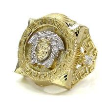 8 Grams 0.20ct 10k Yellow Real Gold Mens Greek God Head Gemstone Hip Hop Ring