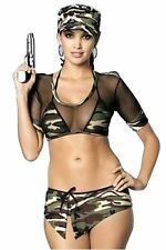 Ladies Sexy Army Lady Camouflage Dress Theme Party Womens Complete Fancy Outfit