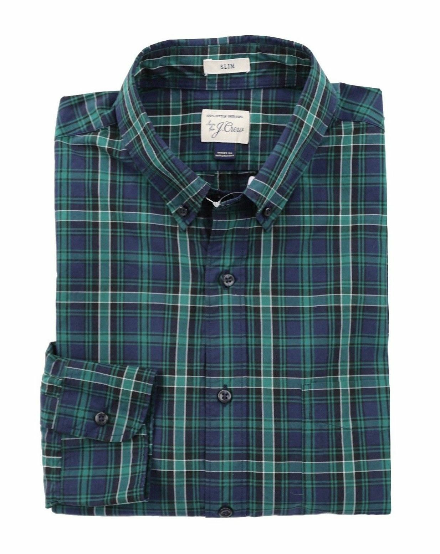 J.Crew - Mens M - Slim Fit - NWT - Navy Green Tartan Plaid Secret Wash Shirt