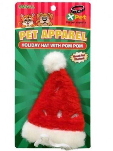 FREE SHIP TO USA VOTOYS XPET XMAS SMALL SANTA HAT W// POM POM CHRISTMAS HOLIDAY