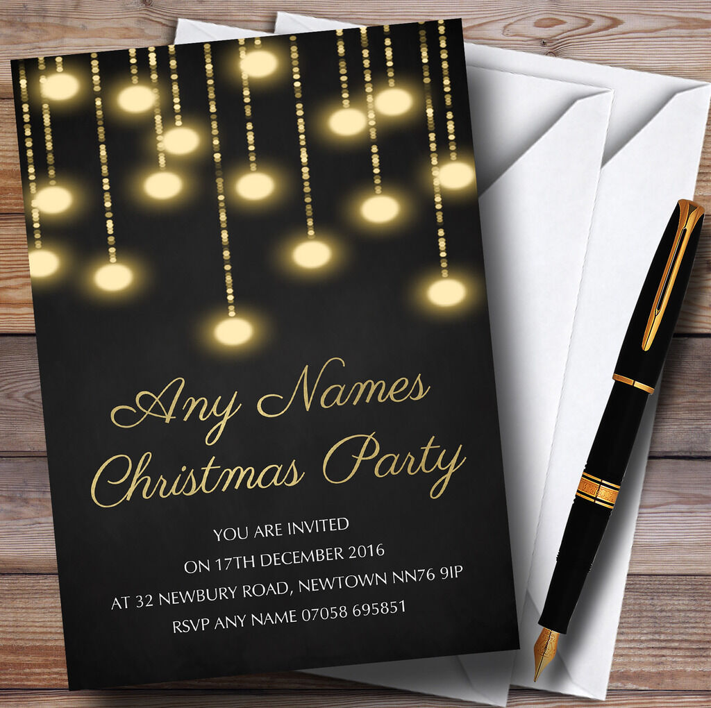 Golden Lights Chalk Effect Personalised Christmas Party Invitations