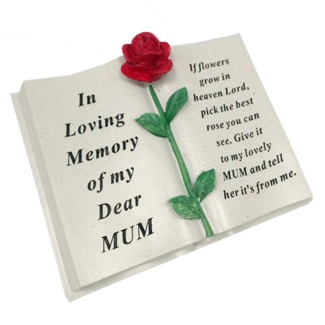 Large Memorial Resin Red Rose Flower Heart Stone Garden Ornaments Graves Plaques