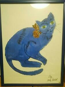 ANDY-WARHOL-ART-POSTER-BLUE-CAT-OFFICIAL-PRINT-VERY-RARE-F-S-JAPAN-GERMANY