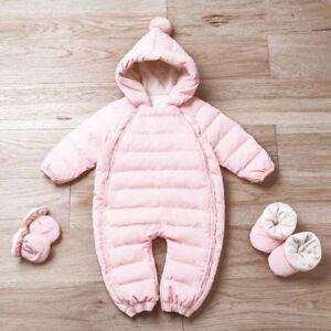 f7ff7c890148 Newborn Baby Boys Girl Romper Thick Warm Clothes White Duck Down ...