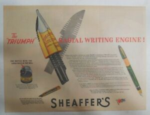 """Sheaffer's  Pen Ad:  Sheaffer's The """"Triumph"""" Pen from 1944 Size: 11 x 15 inches"""