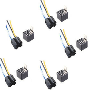 lot5 car motor dc 12v 40a amp spst relay & socket harness ... automotive wire harness manufacturers usa