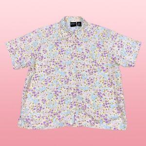 ERIKA-Womens-Top-Large-Peach-Floral-Button-Up-Linen-Blend-Short-Sleeve