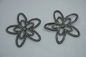 2x 6cm black white flowers embroidered sew iron on cloth