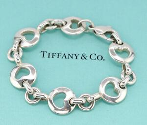 TIFFANY-amp-Co-1999-Stencil-heart-Link-Bracelet-Sterling-Silver-925-Bangle