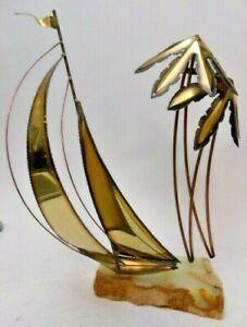 Vintage Brass Sailboat Sculpture Palm Trees from John DeMott  signed