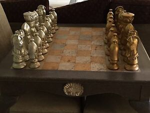 Image Is Loading Chess Table All Carved Chess Pieces And 2