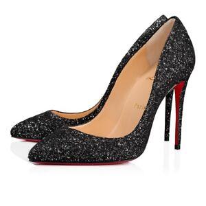 979d8a86f1a Details about NIB Christian Louboutin Pigalle Follies 100 Black Glitter  Resille Heel Pump 36