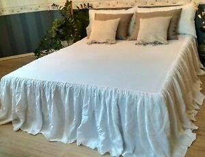 Linen-coverlet-with-Ruffle-100-Flax-Drop-Length-26-034-40-034-King-Queen-White-Brown