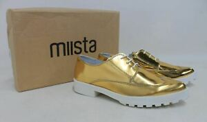 MIISTA-Miley-Ladies-Metallic-Gold-Faux-Leather-Lace-Up-Brogue-Shoes-UK4-EU37-NEW