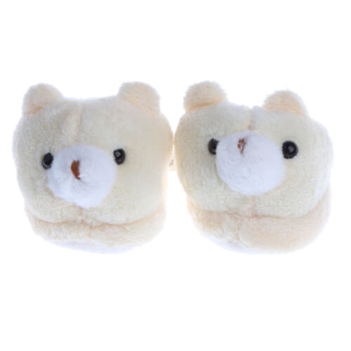 1 Pair Plush Bear Slippers Shoes for 18/'/' AG American Doll Dolls Clothing Beige