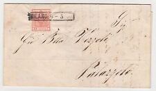 STORIA POSTALE 1853 LOMBARDO VENETO C.15 II TIPO MILANO 9/5 Z/5348