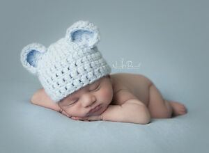 b970d7c2059 Hand Crochet Knitted Baby Hat Teddy Bear Chunky Photo Prop Boy Blue ...