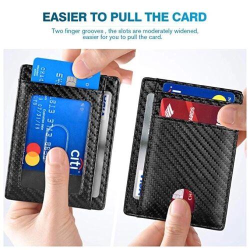 Slim Minimalist Front Pocket RFID Blocking Carbon Fiber Wallets for Mens Wallet