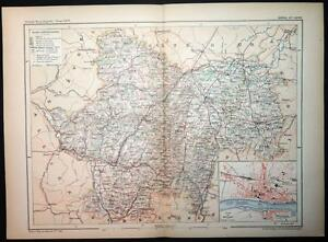 Macon France Map.1901 Antique Print Colour Map Of Saone Et Loire Macon France French