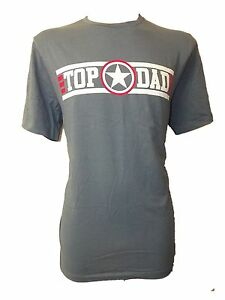 NEW MENS EX STORE TOP DAD BLUE RETRO TOP GUN T SHIRT - SZ LARGE - FATHERS DAY