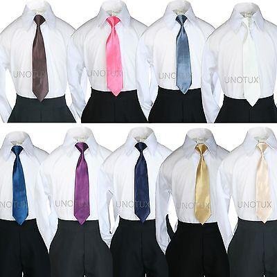 9 Color Pick Satin Zipper Tie For Baby Kid Teen Boy Formal  Suit Tuxedo sz S-20