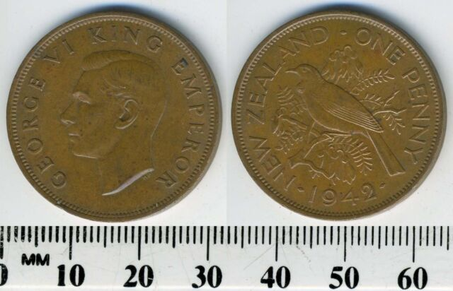 New Zealand 1942 - 1 Penny Bronze Coin - King George VI - Tui bird - WWII