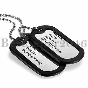 2-Military-Dog-Tags-Pendant-Army-Style-Ball-Chain-Mens-Necklace-w-Silencers