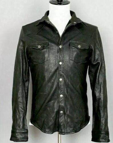 Men/'s Leather Shirt Genuine Lambskin Soft Basic Vintage Jacket Biker New Arival