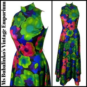 Size 8 10 VTG Maxi Dress 1970s Bold Floral Satin Gown High Turtle Neck Vera Mont