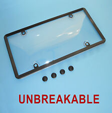 CLEAR PLASTIC LICENSE PLATE SHIELD +BLACK FRAME bug cover tag protector plastic