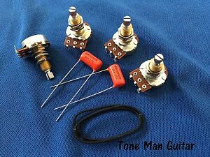 GUITAR-UPGRADE-Wiring-Kit-fits-Gibson-Les-Paul-long-de-500K-Pots-Orange-Drop-Caps
