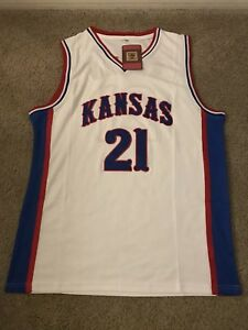 half off 600ac a1feb Details about Mens Large Throwback Joel Embiid Kansas Jayhawks NCAA  Basketball Jersey
