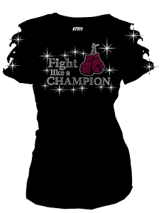 Bling Breast Cancer Fight Like Champion RHINESTONE Shirt Rip Cut Out S~3X Short