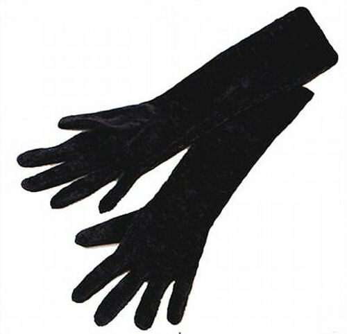 Ladies Long Black Velvet Gloves 21 Inch Vampire Goth Halloween Victorian NEW