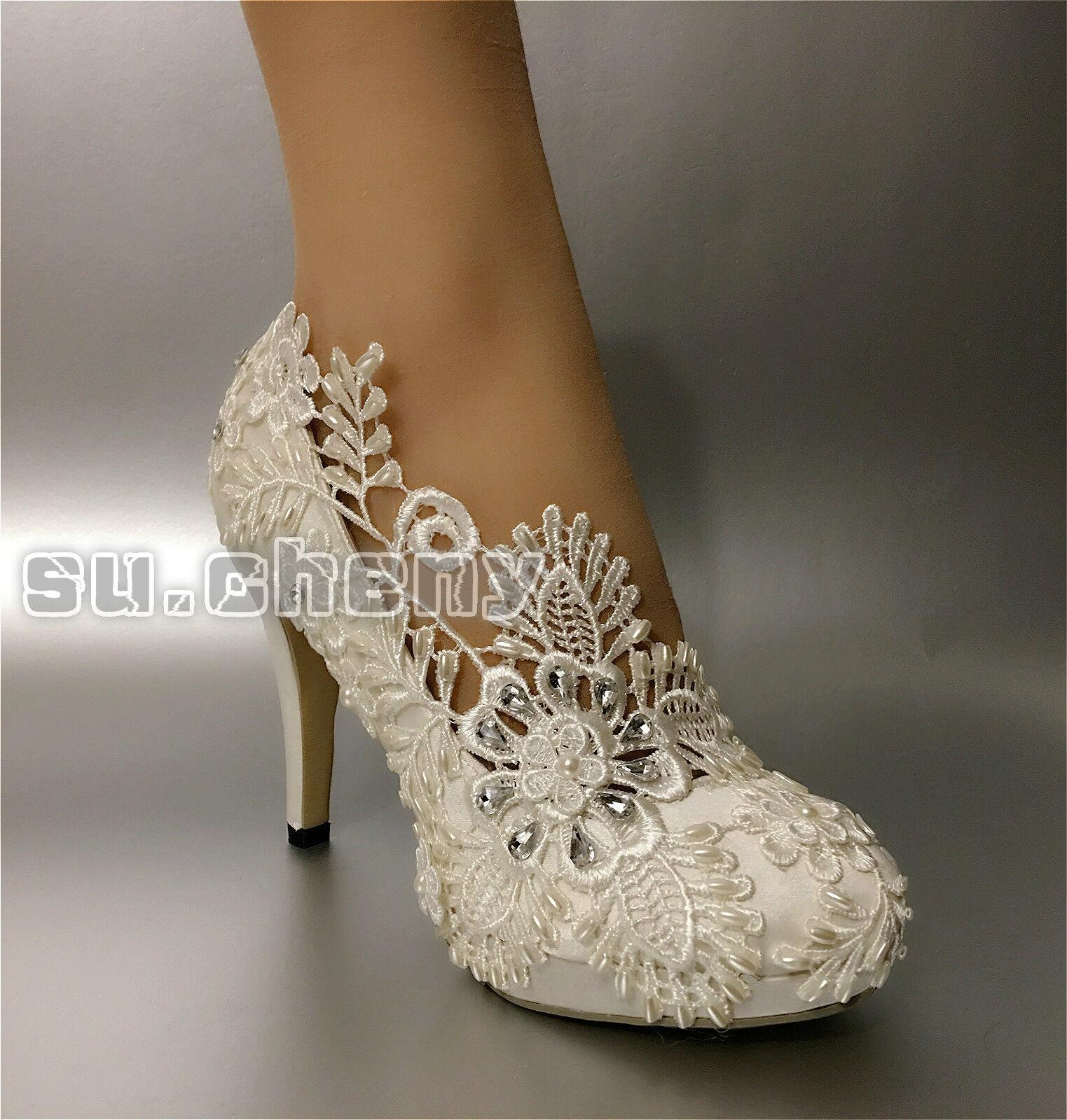 Su.cheny Su.cheny Su.cheny 3  4  heels White light ivory leaf lace satin pump Wedding Bridal shoes 7f1732