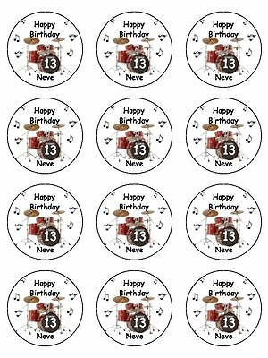 "12 x Personalised Drum Kit 2"" PRE-CUT PREMIUM RICE PAPER Edible Cup Cake Toppers"