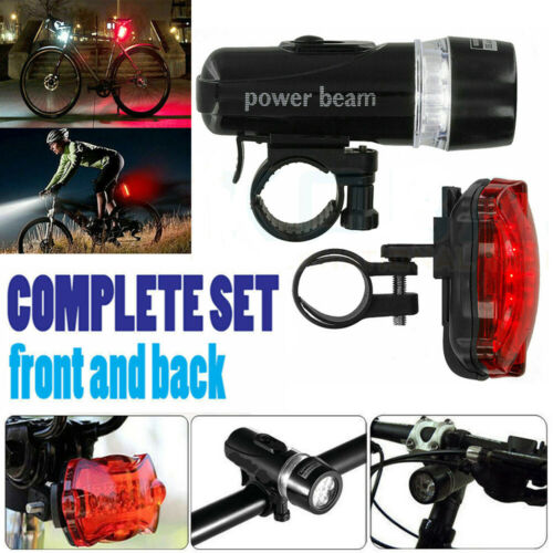 Waterproof 5 LED Lamp Bike Bicycle Front Head Light+Rear Safety Flashlight