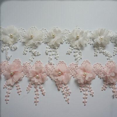 1yd Vintage Fringe Flower Pearl Lace Trimming Wedding Bridal Tassel Ribbon DIY